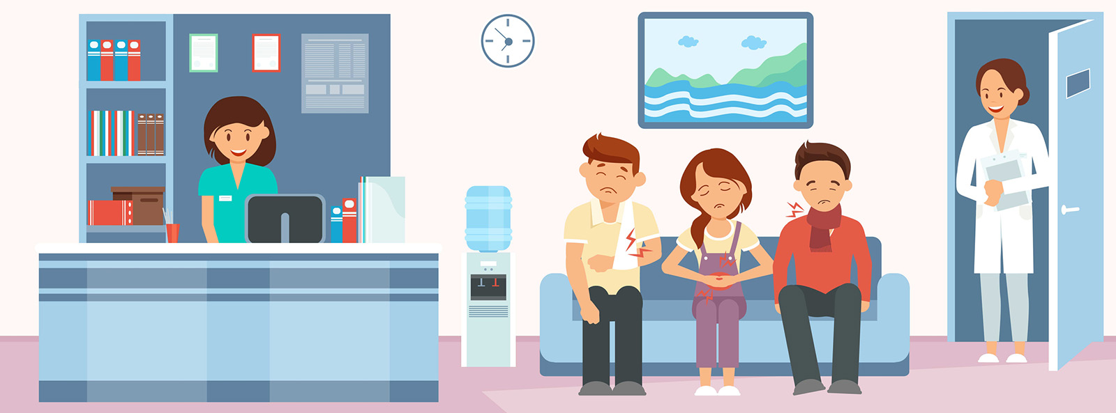 Patients in Hospital Reception Flat Illustration. Sitting People with Stomach Ache, Arm Fracture, Sore Throat. Cartoon Color Character. Emergency Room. Clinic Hall Interior Design Clipart.